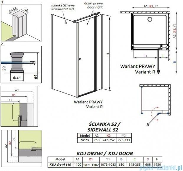 Radaway Eos II Kdj kabina prysznicowa 110x75cm prawa szkło przejrzyste 3799423-01R/3799429-01L