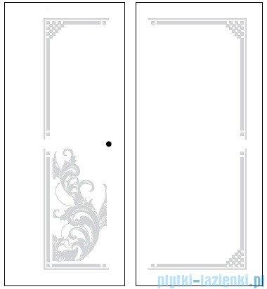 Kerasan Retro Kabina kwadratowa prawa szkło dekoracyjne przejrzyste profile złote 90x90 9146N1