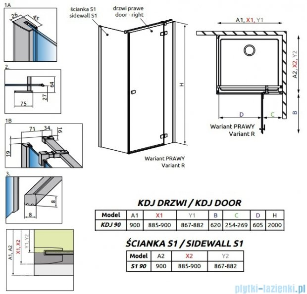 Radaway Fuenta New Kdj kabina 90x90cm prawa szkło przejrzyste 384044-01-01R/384050-01-01