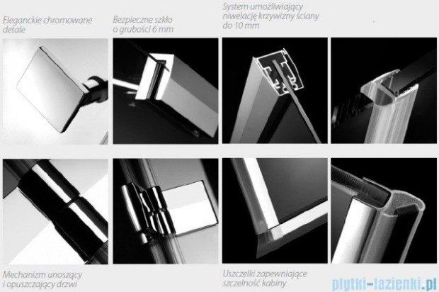 Radaway Kabina prysznicowa Almatea KDJ+S 80x120x80 prawa szkło przejrzyste + brodzik Doros D + syfon 31542-01-01R