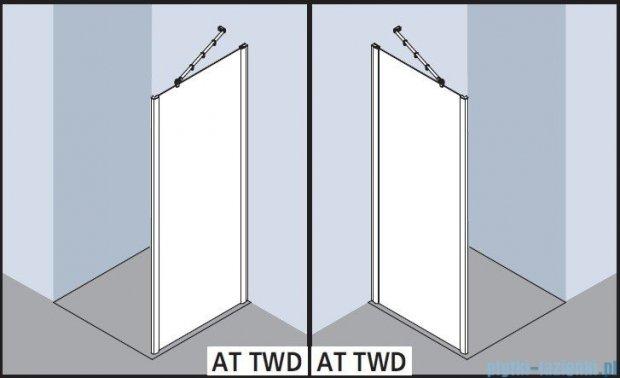 Kermi Atea Ściana boczna, szkło przezroczyste z KermiClean, profile białe 75x185cm ATTWD075182PK