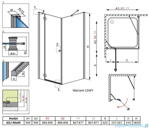 Radaway Torrenta Kdj kabina kwadratowa 90x90 lewa szkło przejrzyste 32202-01-01NL