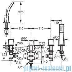 Kludi Joop Bateria wannowo-natryskowa bez wylewki DN 15 chrom 554260505