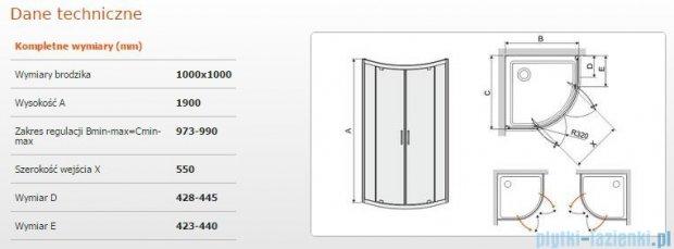Sanplast kabina półokrągła narożna KP2DJ/TX5-100 szkło przezroczyste 600-271-0440-38-401