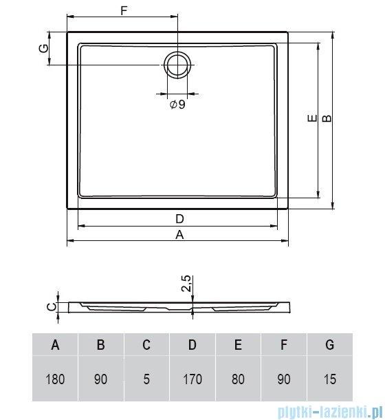 Riho Zurich brodzik prostokątny płaski 276 180x90x4,5 DA84