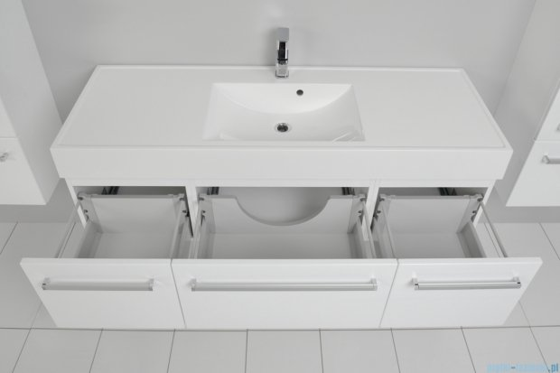 Antado Variete szafka z umywalką, wisząca 140 biały połysk 2 x FM-442/4GT + FM-442/6GT + UNAM-1404C