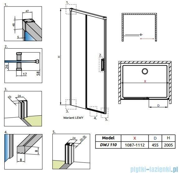 Radaway Idea Dwj drzwi wnękowe 110cm lewe szkło przejrzyste 387015-01-01L