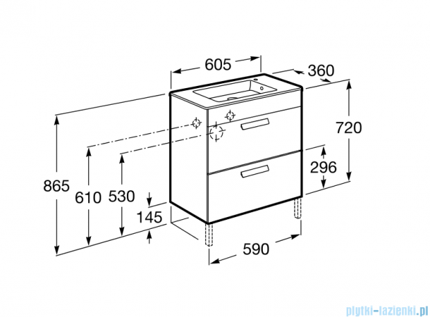 Roca Debba Unik Compacto 60 zestaw łazienkowy z 2 szufladami wenge tekstura A855905154
