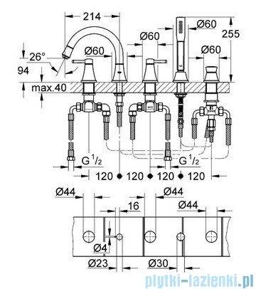 Grohe Grandera 5-otworowa bateria wannowa chrom 19919000