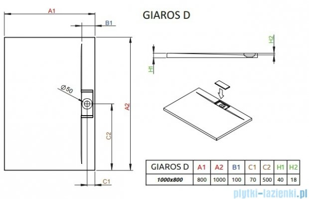 Radaway Giaros D Brodzik prostokątny 100x80x4cm MKGD1080-03