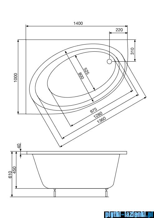 Roca Orbita wanna 140x100cm lewa z hydromasażem Effects Gold Opcja A24T191000