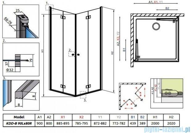 Radaway Essenza New Kdd-B kabina 90x80cm szkło przejrzyste 385071-01-01L/385070-01-01R
