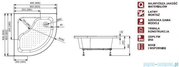 Aquaform Plus 550 brodzik półokrągły głęboki z siedziskiem 80x80cm 18607