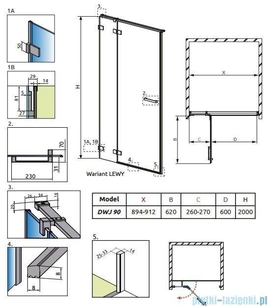 Radaway Euphoria DWJ Drzwi wnękowe 90 lewe szkło przejrzyste 383013-01L