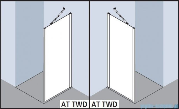 Kermi Atea Ściana boczna, szkło przezroczyste, profile srebrne 100x200cm ATTWD10020VAK