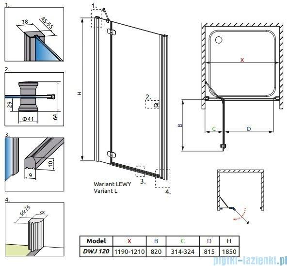 Radaway Torrenta DWJ drzwi wnękowe 120 lewe szkło carre 31930-01-10N