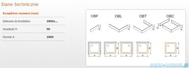 Sanplast Obudowa frontowa do brodzika OBF 180x9 cm 625-400-0410-01-000