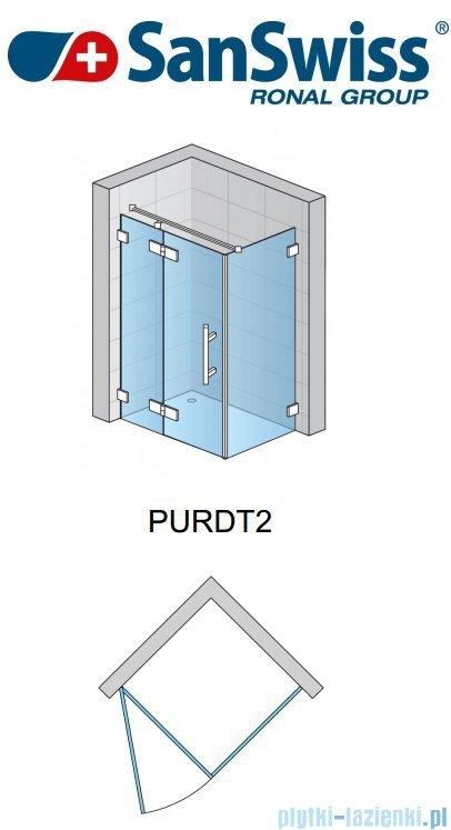 SanSwiss Pur PURDT2 Ścianka boczna 100-160cm profil chrom szkło Krople PURDT2SM41044