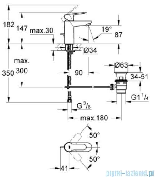 Grohe Bauedge bateria jednouchwytowa umywalkowa stojąca chrom 23328000