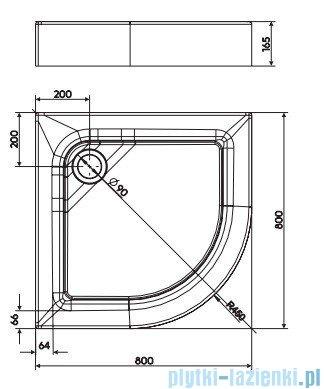 Koło First Brodzik półokrągły 80cm ze zintegrowaną obudową XBN1680