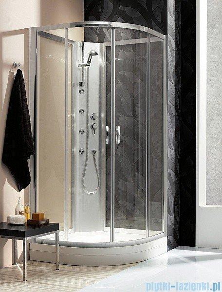 Radaway Quattra Kabina półokrągła 925×925 szkło przejrzyste, grafitowe + brodzik + panel 33003-01-01N,33103-01-05N