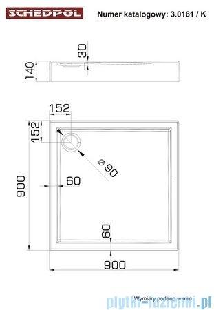 Schedpol Competia Brodzik akrylowy z nośnikiem 90x90x14cm 3.0161