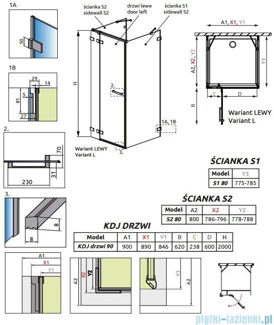 Radaway Euphoria KDJ+S Kabina przyścienna 80x90x80 lewa szkło przejrzyste 383020-01L/383051-01/383031-01