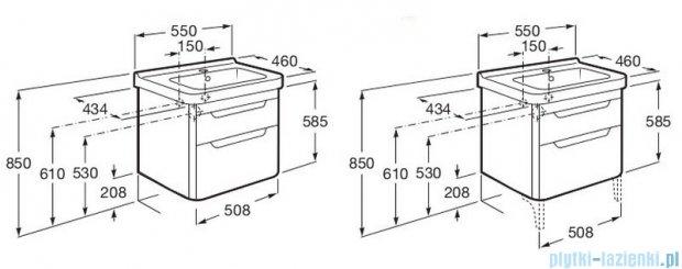 Roca Dama-n Unik 55 zestaw łazienkowy z 2 szufladami Szary antracyt połysk A851046153