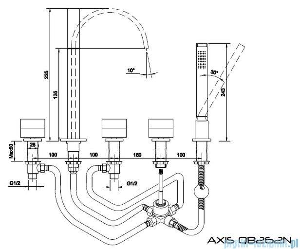 Kohlman Axis 5-otworowa bateria wannowa QB262N