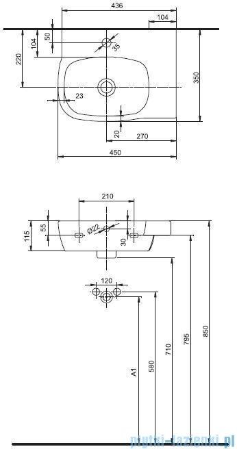Koło Style Umywalka asymetryczna 45cm z otworem L22145000
