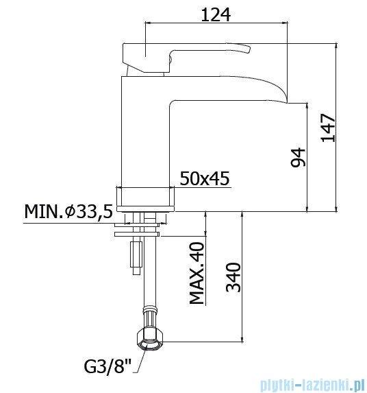 Paffoni Bateria umywalkowa z wylewką typu wodospad bez korka Level Standard chrom LES061CR