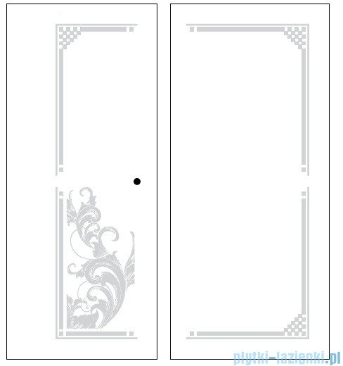 Kerasan Kabina prostokątna prawa, szkło dekoracyjne przejrzyste, profile brązowe 80x96 Retro 9141N3