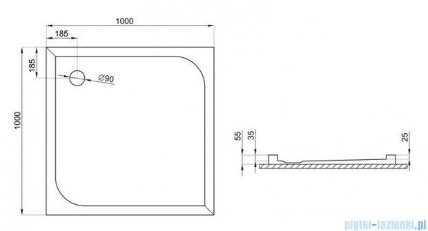 Polimat Ares brodzik kwadratowy posadzkowy 100x100cm 00597