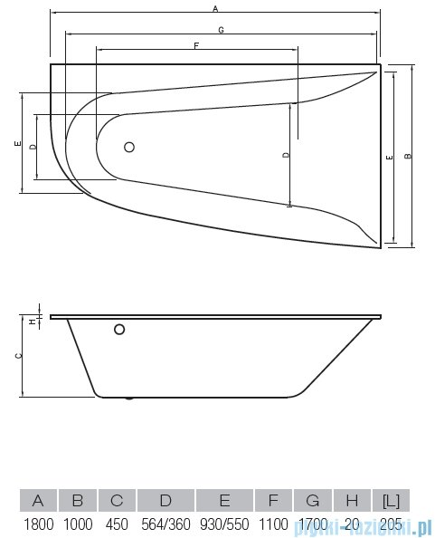 Vayer Bumerang 180x100cm Wanna asymetryczna prawa