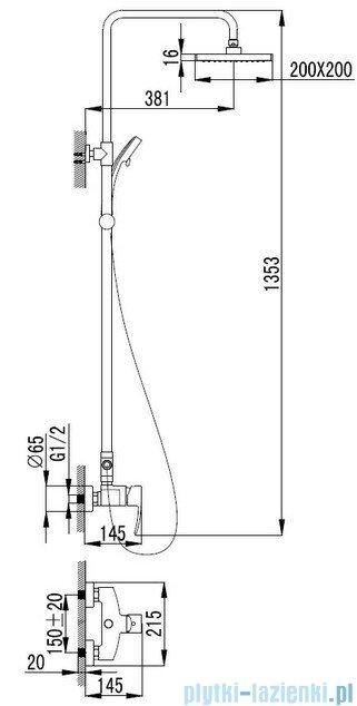 Omnires Murray kolumna natryskowa z baterią chrom MU6144