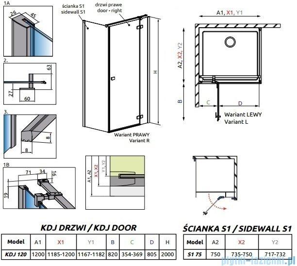 Radaway Essenza New Kdj kabina 120x75cm prawa szkło przejrzyste 385042-01-01R/384049-01-01