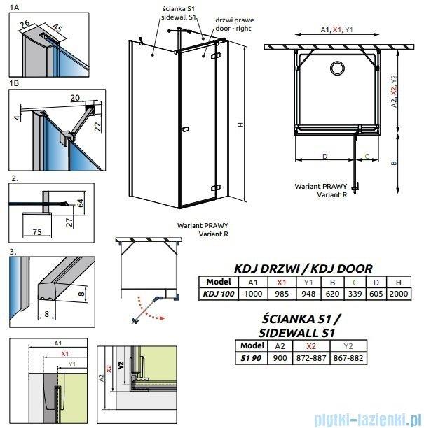 Radaway Fuenta New Kdj+S kabina 90x100x90cm prawa szkło przejrzyste 384022-01-01R/384050-01-01/384050-01-01