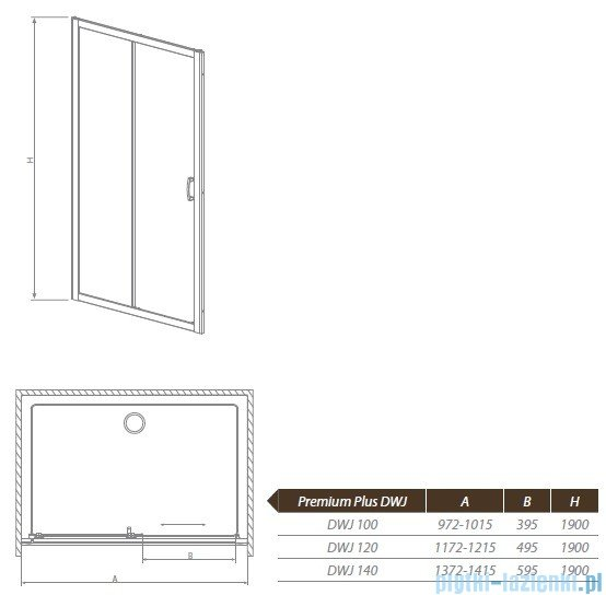 Radaway Premium Plus DWJ Drzwi wnękowe 100 szkło przejrzyste 33303-01-01N