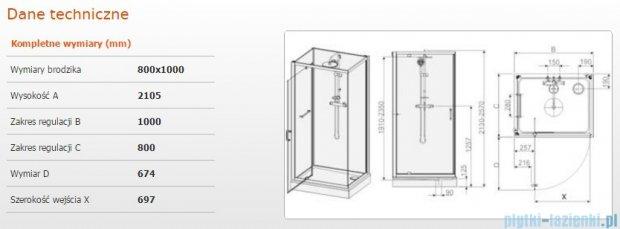 Sanplast Kabina czterościenna kompletna kpl-KCDJ/CLII-80x100 80x100x210cm przejrzysta 602-011-0220-01-4B1