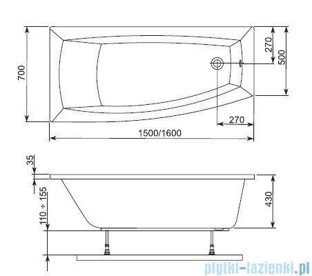 Aquaform Arcline wanna asymetryczna 150x70cm prawa 241-05314P