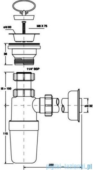 McAlpine Syfon umywalkowy butelkowy HC1L-J