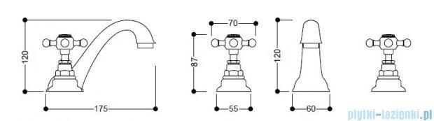 Kerasan Bateria umywalkowa 3-otworowa Retro złota 739191