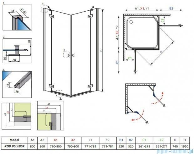 Almatea  Kdd Radaway Kabina kwadratowa 80x80 szkło przejrzyste + Brodzik Delos C 80 + syfon 32162-01-01N