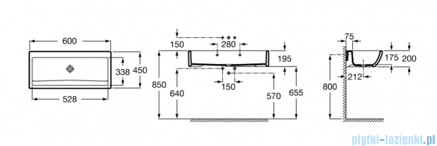 Roca Dostępna łazienka umywalka ścienna 60x45cm A368PB9000