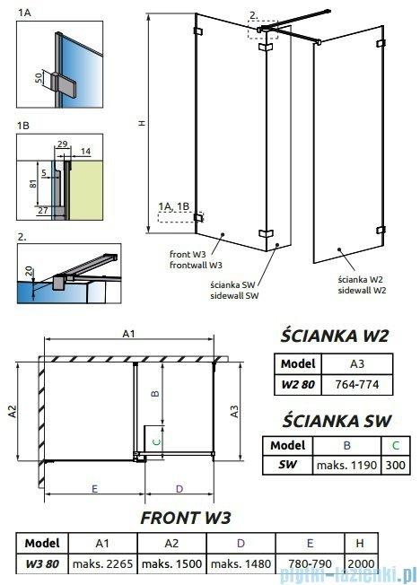 Radaway Euphoria Walk-in III kabina 80x80cm szkło przejrzyste 383130-01-01/383120-01-01/383160-01-01