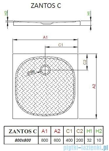 Radaway Zantos C brodzik kwadratowy 80x80cm M3ZNC8080-06