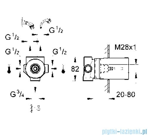 Grohe przełącznik pięciodrożny element do zabudowy podtynkowej DN 15 29708000