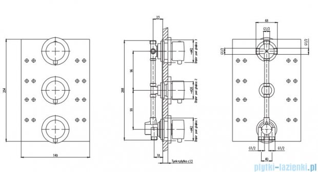 Deante Multi-System bateria do panelu podtynkowego okrągła NAC 09BT