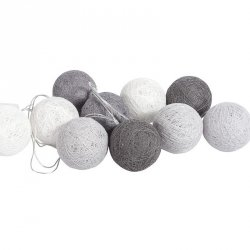 Lampki dekoracyjne kule - Cotton Balls - 10 kul - biało-szare