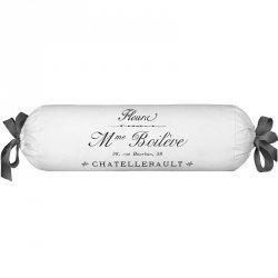 Poduszka dekoracyjna wałek French Home - Madame - biało-szara
